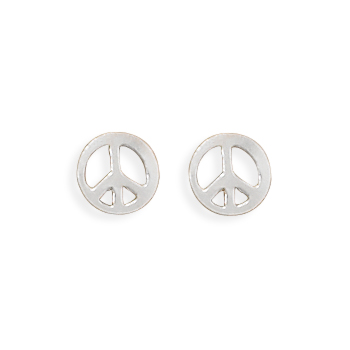 sign hippie silver sterling peace symbol earrings cz stud pin