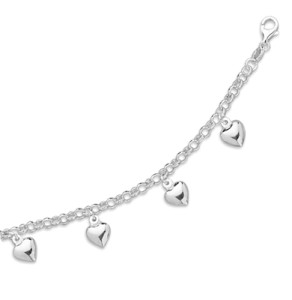 rolo chain heart charms bracelet