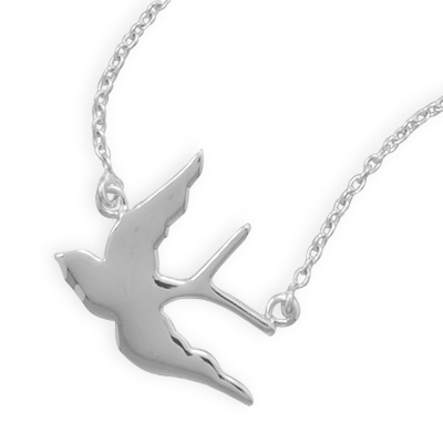 925 sterling silver swallow bird necklace vast jewels 925 sterling silver swallow bird necklace mozeypictures Image collections