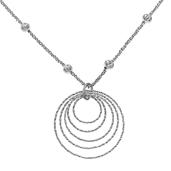 Perfect 925 Sterling Silver Beaded Chain with Rings Necklace | Vast Jewels MV07