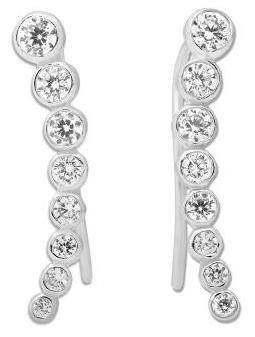 151a3ee20 925 Sterling Silver Round CZ Ear Crawler Earrings | Vast Jewels