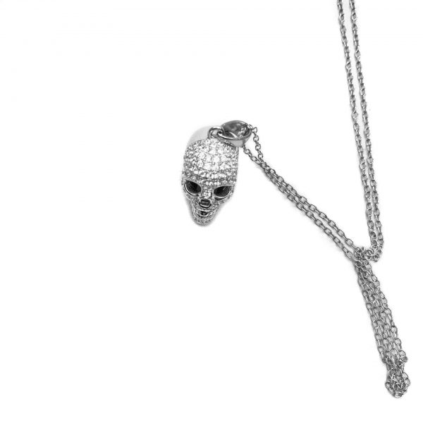 sterling silver skull necklace, skulls, 3d skull, cz skull necklace