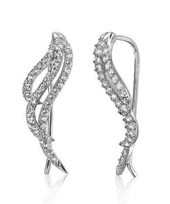 cz flame ear climber earrings vj