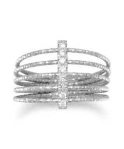 silver cz 5 row rings
