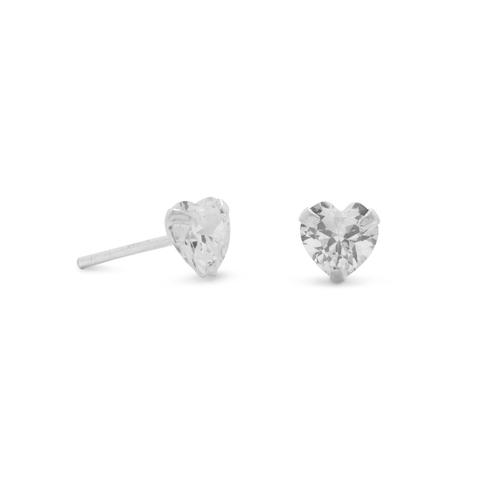 heart cz stone stud earrings
