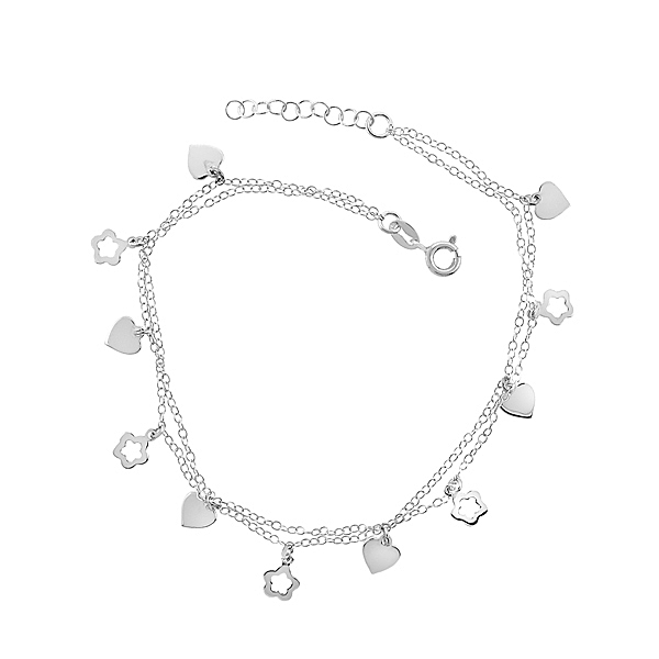 heart and flower charm anklet