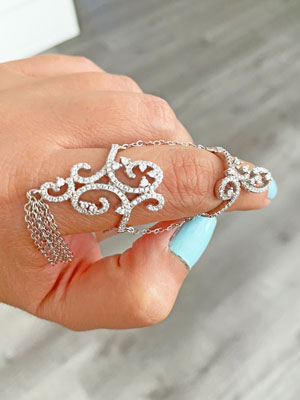 Double chain link ring cz