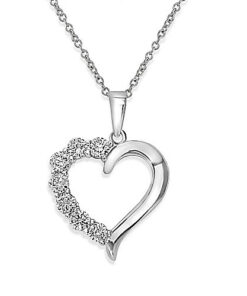 Open Heart silver cz necklace vj