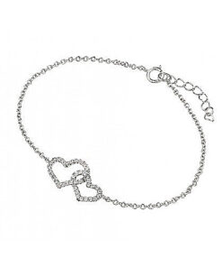 linked heart cz bracelet