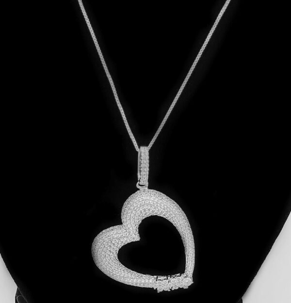 silver and cz large heart necklace