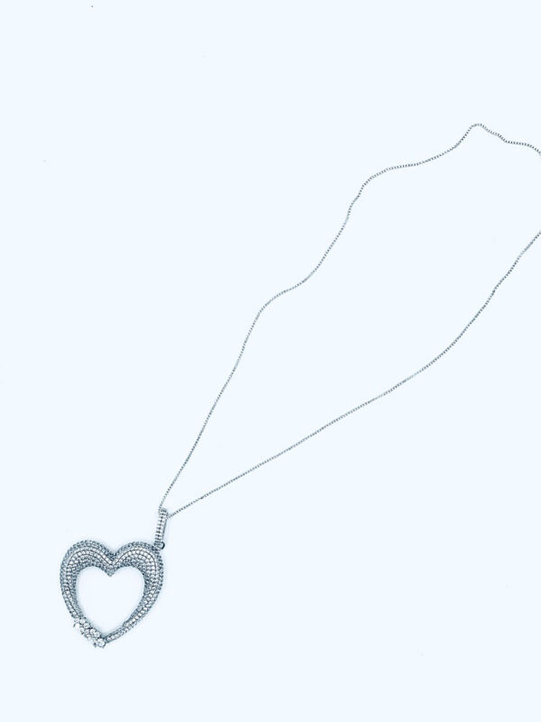 silver large cz heart necklace