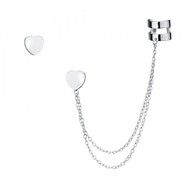 heart stud and cuff earrings