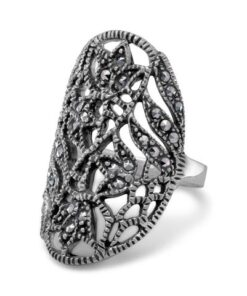marcasite flower and vine ring