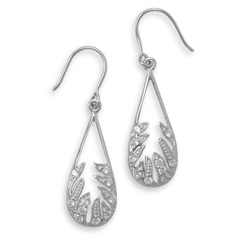 french wire leaf with cubic zirconia