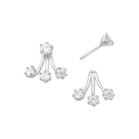 silver 3 drop front and back earrings